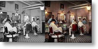Metal Print featuring the photograph Barber - Senators-only Barbershop 1937 - Side By Side by Mike Savad