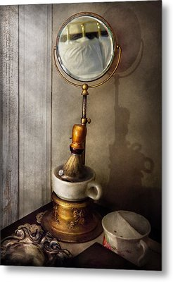Barber - The Morning Shave  Metal Print by Mike Savad