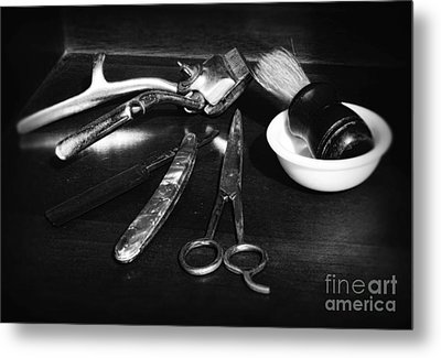 Barber - Things In A Barber Shop - Black And White Metal Print by Paul Ward