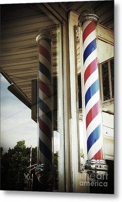 Barbershop Pole Metal Print
