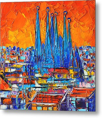 Barcelona Abstract Cityscape 7 - Sagrada Familia Metal Print