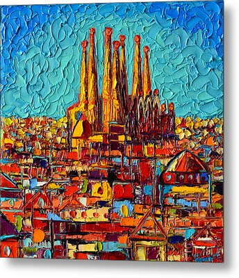 Barcelona Abstract Cityscape - Sagrada Familia Metal Print