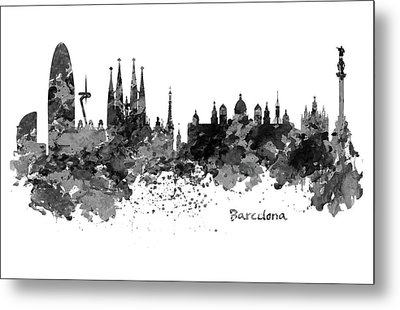 Barcelona Black And White Watercolor Skyline Metal Print by Marian Voicu