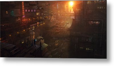 Barcelona Smoke And Neons Districte Sant Joan Metal Print by Guillem H Pongiluppi