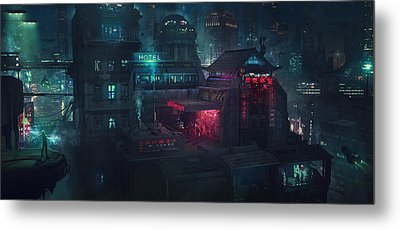 Barcelona Smoke And Neons Eixample Metal Print by Guillem H Pongiluppi