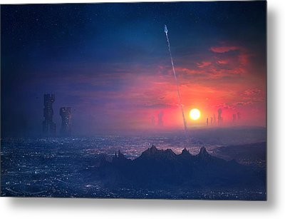 Barcelona Smoke And Neons Montserrat Metal Print by Guillem H Pongiluppi