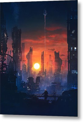 Barcelona Smoke And Neons The End Metal Print by Guillem H Pongiluppi