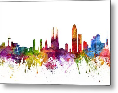 Barcelona Spain Cityscape 06 Metal Print by Aged Pixel
