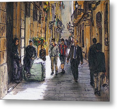Barcelona Street Sketch Metal Print by Randy Sprout