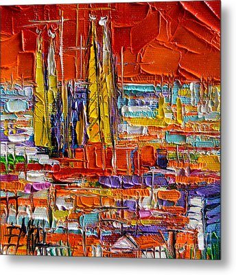 Barcelona View From Parc Guell - Abstract Miniature Metal Print by Mona Edulesco