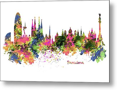 Barcelona Watercolor Skyline Metal Print by Marian Voicu