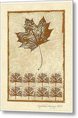 Bare Trees And Maple Leaf Metal Print