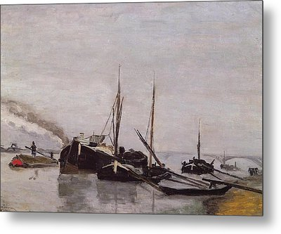 Barges On The Seine At Bercy Metal Print by Armand Guillaumin