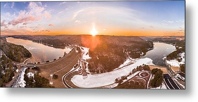 Metal Print featuring the photograph Barkhamsted Reservoir And Saville Dam In Connecticut, Sunrise Panorama by Petr Hejl