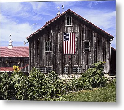 Barn And American Flag Metal Print