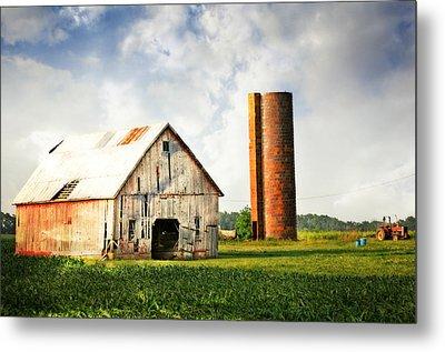 Barn And Brick Silo Metal Print