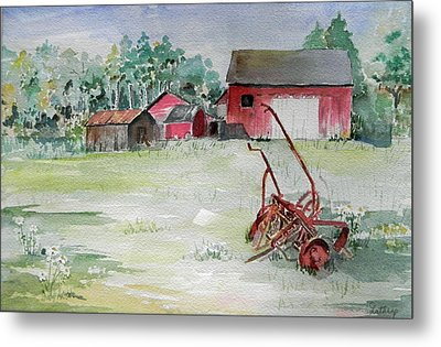 Barn And Cultivator Metal Print