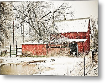 Barn And Pond Metal Print by Marilyn Hunt