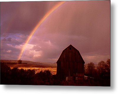 Barn And Rainbow In Autumn Metal Print