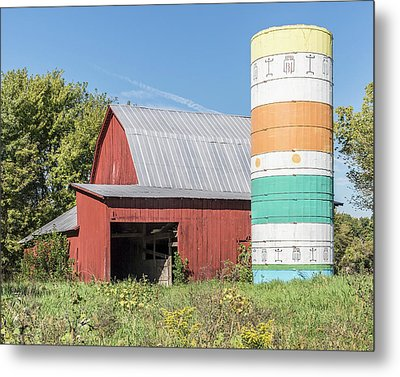 Barn And Silo.  Metal Print by William Morris