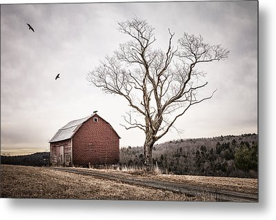 barn and tree - New York State Metal Print by Gary Heller