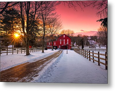 Barn At Sunset  Metal Print