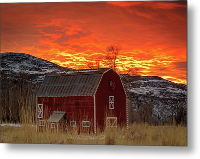 Metal Print featuring the photograph Barn Burner Sunset. by Johnny Adolphson