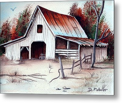 Metal Print featuring the painting Barn by Denise Fulmer