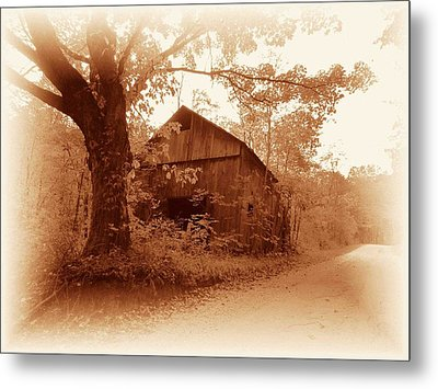 Barn Hocking Co Ohio Sepia Metal Print