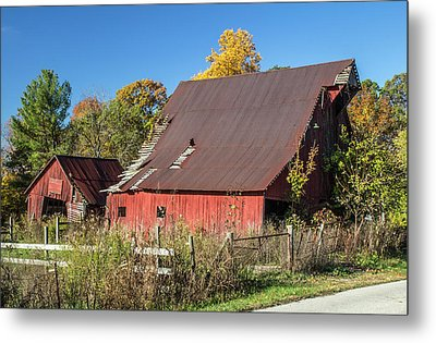 Barn In Autumn Metal Print by William Morris