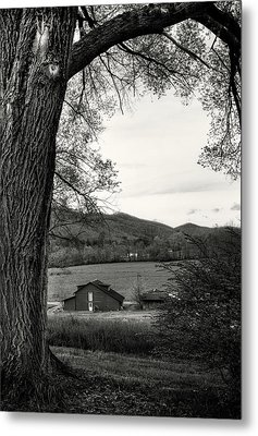 Barn In The Valley In Black And White Metal Print by Greg Mimbs
