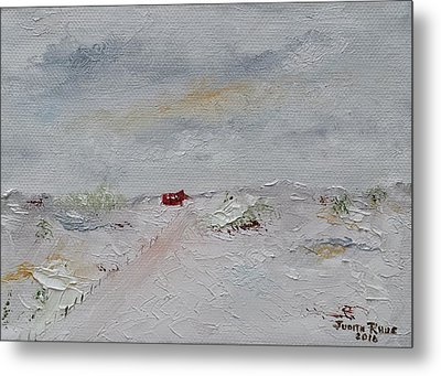Metal Print featuring the painting Barn In Winter by Judith Rhue
