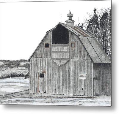 Barn On Hillside Metal Print by Bryan Baumeister