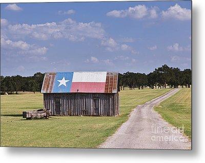 Barn Painted As The Texas Flag Metal Print