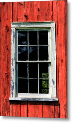 Barn Window Closeup At Old World Wisconsin Metal Print by Christopher Arndt