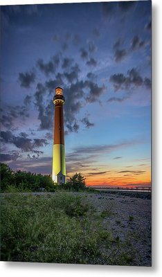 Barnegat Lighthouse At Dusk Metal Print by Rick Berk