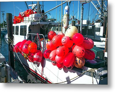 Metal Print featuring the photograph Barnegat Red Buoys by John Rizzuto
