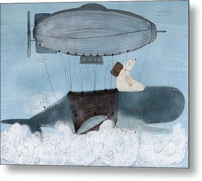 Metal Print featuring the painting Barney And The Whale by Bri B