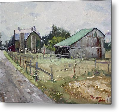Barns And Old Shack In Norval Metal Print by Ylli Haruni