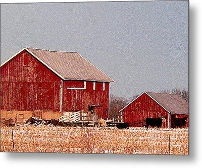 Barns In Winter Metal Print by David Bearden