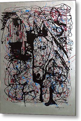Metal Print featuring the painting Barnyard Horse by J R Seymour