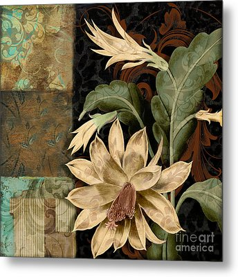 Baroque Cactus Orchid Patchwork Metal Print by Mindy Sommers