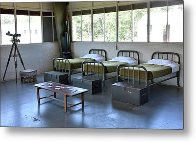 Metal Print featuring the photograph Barrack Interior At Fort Miles - Delaware by Brendan Reals