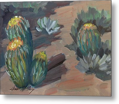 Metal Print featuring the painting Barrel Cactus At Tortilla Flat by Diane McClary