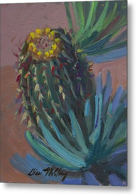 Barrel Cactus In Bloom - Boyce Thompson Arboretum Metal Print by Diane McClary