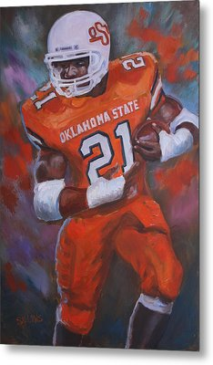 Barry Sanders, Oklahoma State Metal Print by Nora Sallows