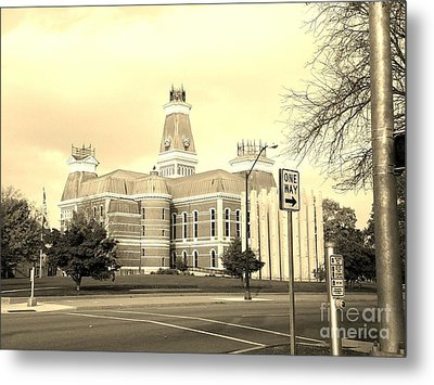 Bartholomew County Courthouse Columbus Indiana - Sepia Metal Print