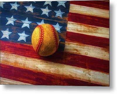 Baseball And Folk Art Flag Metal Print by Garry Gay