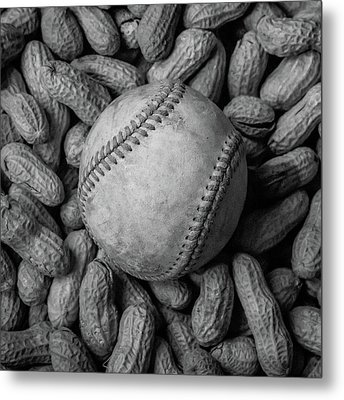 Metal Print featuring the photograph Baseball And Peanuts Black And White Square  by Terry DeLuco