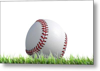 Baseball Ball Resting On Grass Metal Print